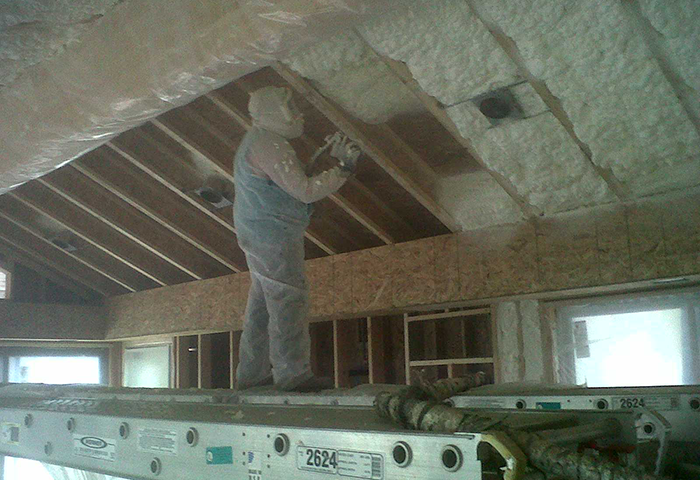 open-cell-foam-filled-in-ceiling-of-pool-house